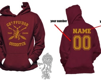 CHASER - Custom back, Gryffin Quidditch team Chaser Yellow print printed on Maroon Hoodie