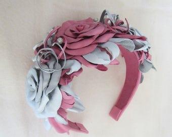 Wedding headband Roses. Wedding Headband. Leather Wedding Headband Rose, White Pink Rose Headband, Flower Headband, Floral Headband Roses