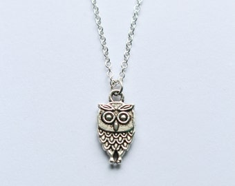 SALE! Cute Silver Owl Pendant Charm Necklace - Wildlife Animal Nature Jewellery Gift - Ladies Accessories Gift for Her Bird Animal Lover