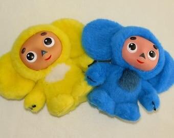 Cheburashka, Yellow and Blue  Colors, Russian soft toy, Cheburashka  Soviet Vintage Doll, 90s чебурашка