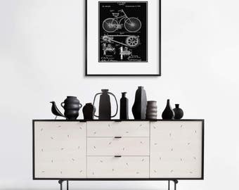 Framed Wall Art - VINTAGE BICYCLE PATENT- Free Shipping -  Wall Art Sets - Black or White Frame - Urban Wall Art - Bicycle Wall Decor