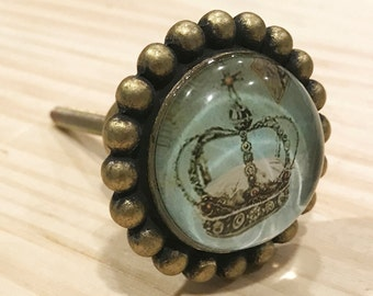 Crown Antique Glass Pewter Knob for King or Princess, Drawer Pulls, Dresser Drawer Pull, Knob