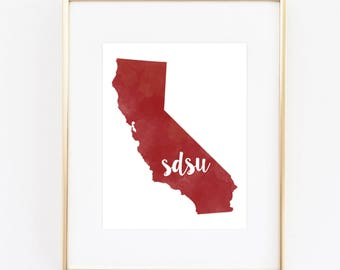 San Diego State University Watercolor State Printable (8x10)
