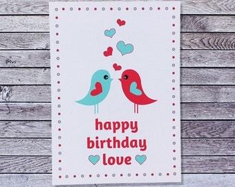 Bird Love Birthday Card