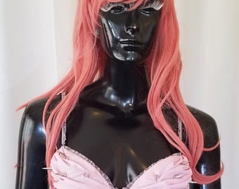 Punk Cupcake 32A pink and black rave bra with rhinestones and spikes