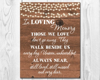 In Loving Memory Wedding Sign, 8X10 , Memorial Table, String lights, Rustic wedding sign, Remembrance Sign Printable, Heaven sign, WS013