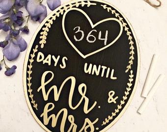 Wedding Countdown Chalkboard   Days Until Mr. and Mrs.   Engagement Gift   Bridal Shower   Wedding Gift  