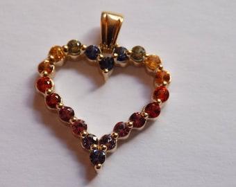14kt Multi Gemstone Heart Pendant