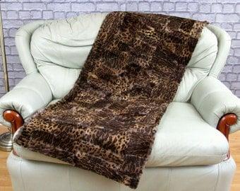 Luxury genuine rabbit sheared fur throw, blanket, leo pattern, size 156cm X 62cm, ST1