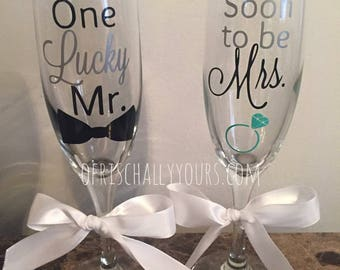 Soon to be Mrs and One Lucky Mr Champagne Glass Set / Engagement Gift