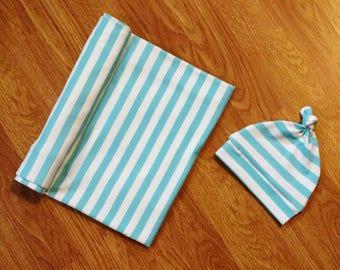Baby Boy Swaddle Set, blanket, knotted hat, stripe, striped, shower gift, hospital gift, blue, aqua, white, newborn, preemie, photo prop