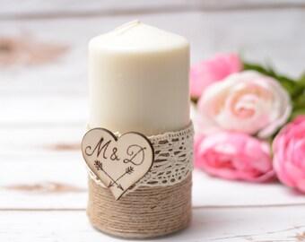 Wedding candle Personalized Rustic Unity Candle Vintage Hochzeitskerze  Kerze