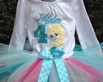 Turquoise Pink Frozen Elsa 4th Birthday Outfit Onesie Tutu FREE Hair Bow Personalized