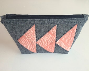 Hand Embroidered Metallic Linen Pouch