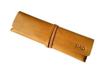 Pen case Leather Pencil Case Wrap Design Pencil Case - Light Brown