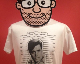 Hawaii Five-O / Jack Lord / Book 'em Danno T-Shirt (tv detective) - White Shirt