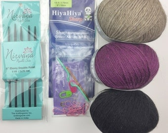 """Fingerless Mitts Kit Deluxe, Cable Mitts Knitting Kit, Twisted River Fingerless Mitts Pattern, Ebony DPN, 9"""" Circular Needle, Rimu Yarn Kit"""