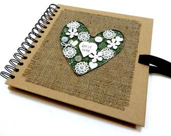 Rustic Wedding Guest Book, Heart Wedding Scrapbook Album, Personalised Wedding Keepsake, Handmade Memory Book, Wedding Gift, Photo Book.