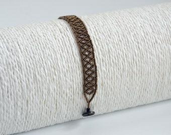 Bracelet, Bangle, bracelet female, style Huichol, copper, silver