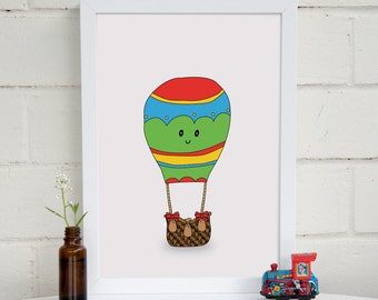 Hot Air Balloon Print | Adventure Nursery Art | Hot Air Balloon Art | Kids Room Decor | Playroom Art | Travel Print | Baby Shower Gift | A4