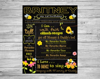 First Birthday Chalkboard/Bumble Bee/Sign Poster/Fun to Be one Chalk Sign/Printable custom board
