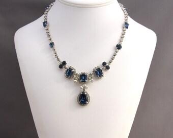 Vintage Early Kramer Art Deco Blue Rhinestone Necklace, Kramer Designer Art Deco Necklace, Unsigned Kramer of New York Necklace, Vintage