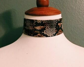 Brown snakeskin choker