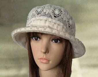 Linen cotton hats, Summer cloche hats, Beige sun hats, Cotton hats summer, Womens linen hats, Organic linen hats, Women's summer hat