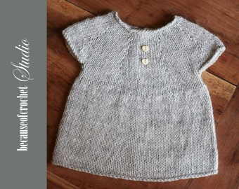 Sale! PDF Knitting PATTERN for beginners - Baby girl top. Size 9-12 months. Knitted with straight needles. Written in US terms