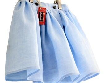 Baby blue linen skirt