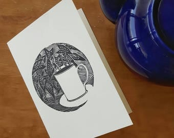 Tea or coffee card, tea time drawing card and evelope, lino print greeting card, relaxation blank cards, mother's day card, boxed cards