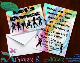 Let's Dance Youth Silhouette Invitation; Folded Card; Postcard; PDF; E-Card