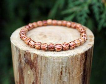 Palm Wood Bracelet, Palm Wood, Wood Bead Bracelet, Wood Bracelet, Wooden Bracelet, Beaded Bracelet, Men's/Women's Bracelet, 6mm Bracelet
