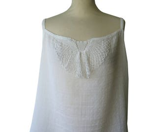 Plastron YSEN white crochet lace top