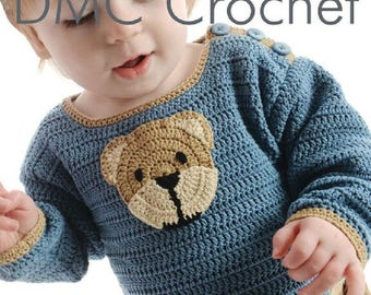 Baby Jumper with Teddy Bear Mofit Crochet Pattern only Natura Just cotton Yarn