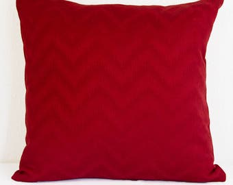 Red Jaquard Pillow Cover With Invisible Zipper, Red ChristmasPillow Cover,  Red on Red Chevron Jaquard  Pillow Cover