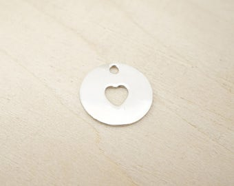 Sterling Silver Heart Blank - Sterling Silver Cutout Heart - Sterling Silver Stamping Disc - Sterling Silver Stamping Blanks
