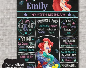 Little Mermaid Birthday Sign,Ariel Chalkboard Printable Sign,Any Size,Personalized birthday sign,Birthday party sign,DPP121