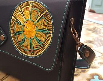 Shoulder bag black with Ñanduti
