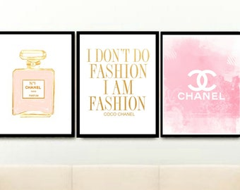 Chanel Prints, Chanel Prints Set, Chanel Prints Triptych, Set of 3 Prints, Fashion Posters, Printable Wall Art, Wall Decor, Instant Download