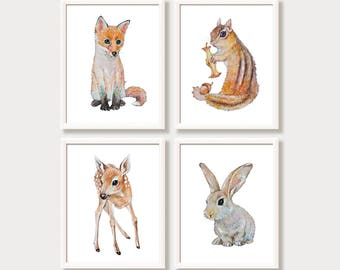 Woodland Nursery Decor Baby Animal Nursery Art Prints Set 4 Forest Woodland Animals Watercolor Paintings Bunny Rabbit Deer Fawn Fox Chipmunk