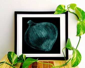 Turquoise Onion Charcoal Kitchen Drawing Print
