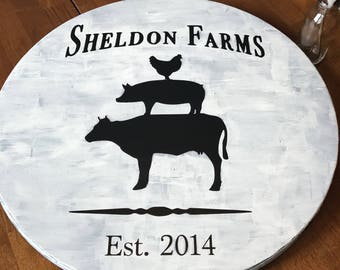 Personalized Farmhouse Lazy Susan (Painted)