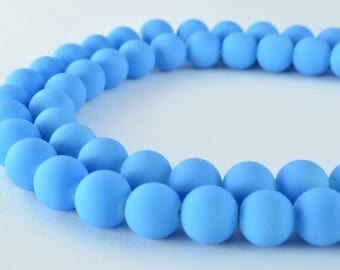 Glass Beads Matte Blue Rubber Over Glass Size 10mm Round For Jewelry Making Item#789222046040