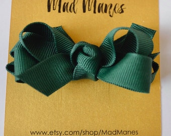 Hunter Green Twisted Double Bow, Forest Green Bow, Green Bow, Green toddler bow, green baby bow, green girls bow, green bow, dark green bow