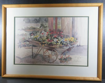 Watercolor Framed Matted Print Judy Buswell Signed Floral Antique Wheelbarrow Flowers
