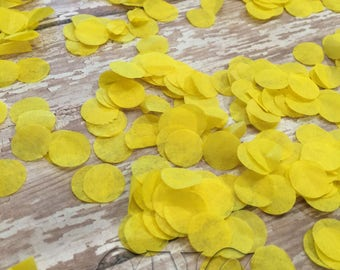 Yellow Tissue Paper Circle Confetti, yellow baby confetti, party confetti, invitation confetti, party table decor, circle die cut, sprinkle