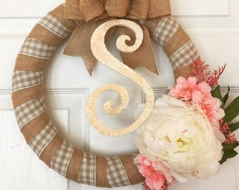 Spring Monogram Wreath, Spring Wreath, Peony Wreath, Wrapped Wreath, Anytime Wreath, Initial Wreath, Custom Floral Wreath, Burlap Wreath