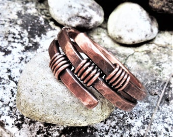 Mens copper ring - Womens copper wire wrapped ring - Rustic copper ring - Antique copper - Spiral wrap around ring - Copper jewelry
