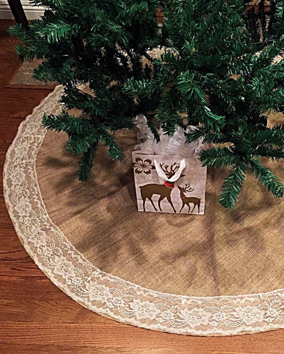 Burlap and lace christmas tree skirt inches diameter